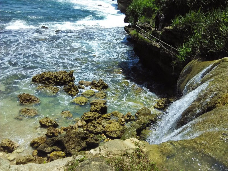 Pantai Jogan, Panorama Air Terjun yang Berada Dibibir Pantai